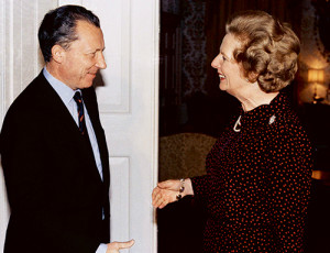 British Premier Margaret Thatcher greets French economist Jacques Delors, the president-elect of the Commission of European Communities at 10 Downing Street in London, Oct 15, 1984. (AP Photo)