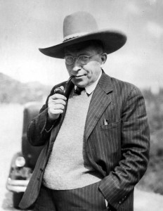 FILE - Sir Frederick Banting, discoverer of insulin and head of the Banting Institute of Toronto, obligingly dons a ten-gallon hat to pose for the photographer during his sojourn at Jasper National Park, Alberta, July 1, 1936. (AP Photo/The Canadian Press)